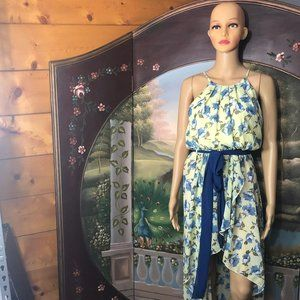 Beautiful Yellow/Blue Floral High-Low Dress- Sz. S